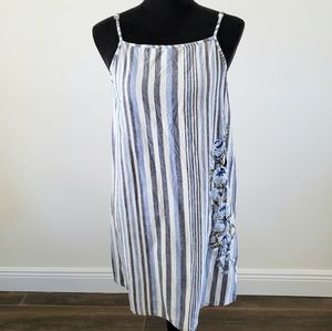 B2G1 NWT Angie Striped Chambray Embroidered Dress